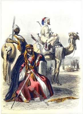 Abyssinian and Egyptians. traditional arab costumes. Bedouin clothing.