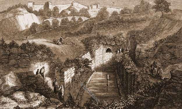 Siloam Pool. Israel. Jerusalem. Sacred Christian site. Gihon Spring. Solomon. Holy Land.