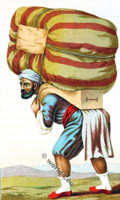 Turkish porter. Ottoman empire clothing. Traditional Armenian costume.