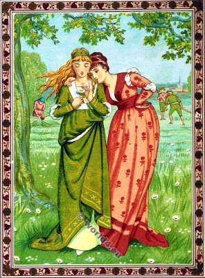 Valentines. Do i Love You. Walter Crane. Kate Greenaway. Costumes.