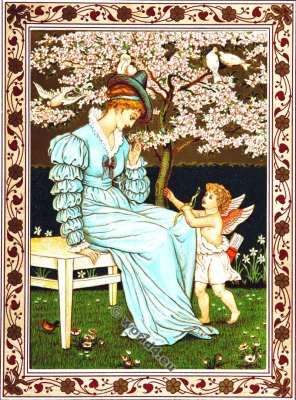 Valentines. He loves me well. Walter Crane. Kate Greenaway. Costumes.