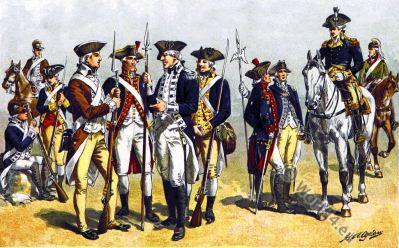 American uniforms. Revolutionary War. 18th century. U.S. soldier. Infantry. Artillery Captain. Lieutenant. Major General.