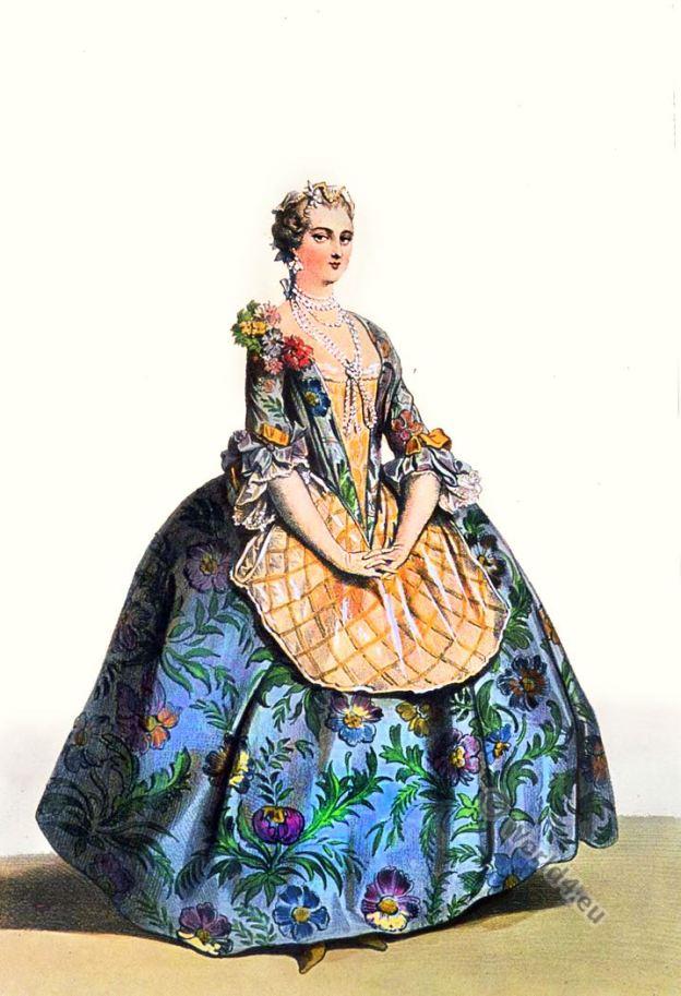 Femme de noblesse. Costume Rococo. Mode du 18ème siècle. Costume du temps de louis XV.