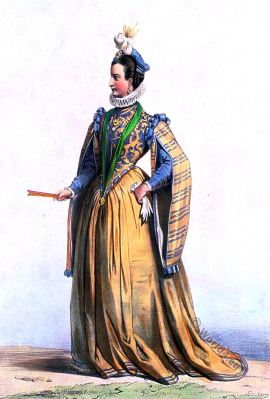 Renee de Rieux, demoiselle de Châteauneuf. French lady costume. Henry III. Renaissance style. 16th century fashion.