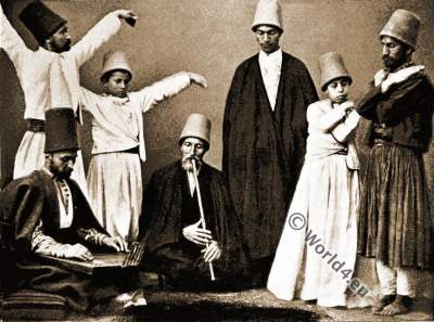 Dancing Dervishes. Ottoman Empire. Islam monks. Mohammedan priest.