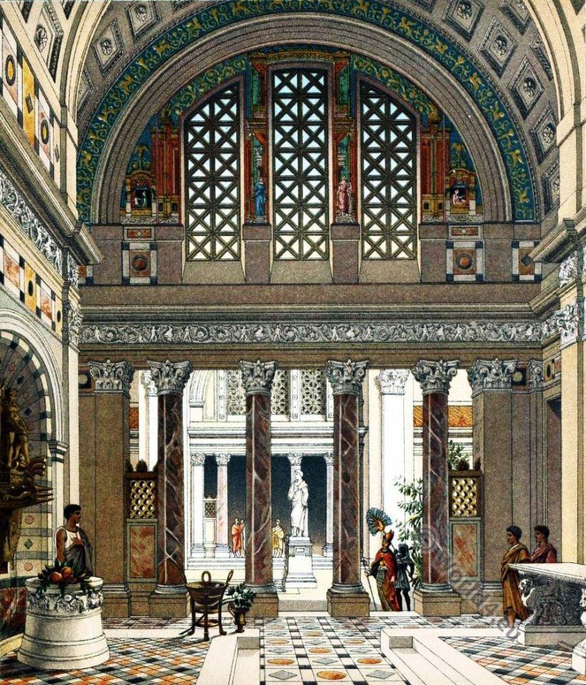 Ancient Roman Palace. Auguste Racinet. Ancient architecture.