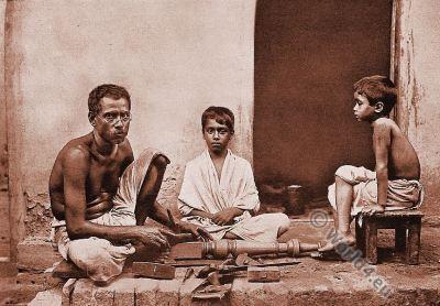 Traditional India costume. Dravidian. Sutars, Carpenters, Bengal.