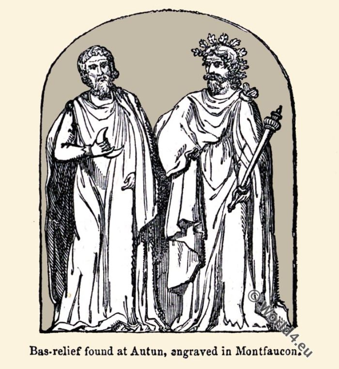 Celtic Druids. Druid Priesthood. costumes. Clothing History. Celts. Gauls. Bas-relief. Montfaucon. Autun.