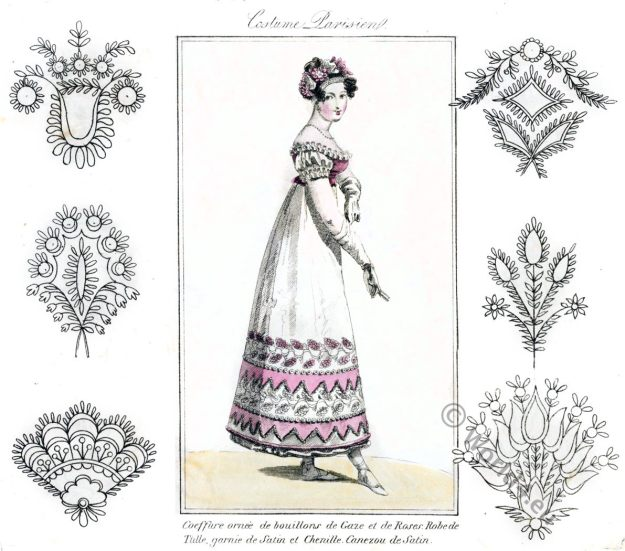 Embroidery designs. Empire, Regency. Dessins de broderie.