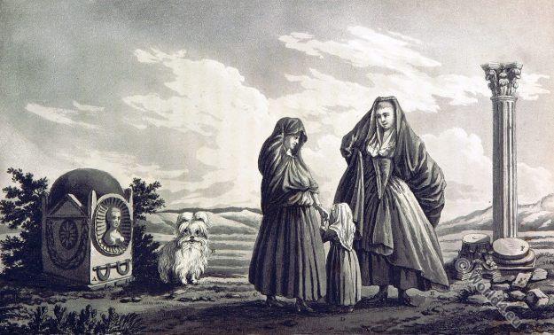Maltese Women. Dress. Historical costumes. Maltese Dog. Ancient Tomb.