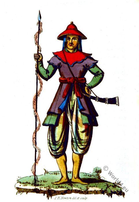 Trooper. Myanmar historic clothing. Burma traditional costume. Military Asia.