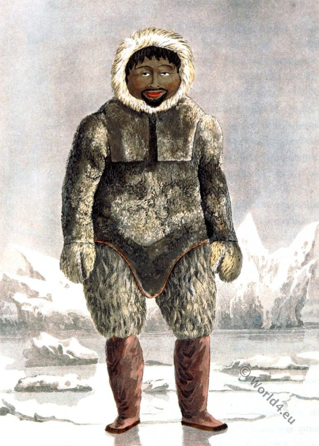 Greenland. Ervick, Inuit. Native, Arctic, Highlander, Prince Regents Bay, Dress, Costume, glaciers, ice, parkas, fur,