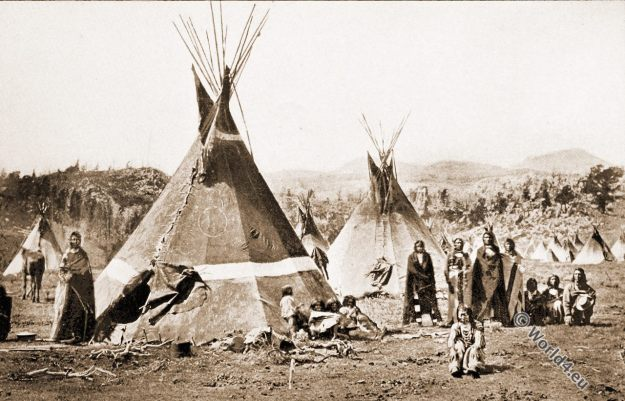 Shoshone village. Native American.