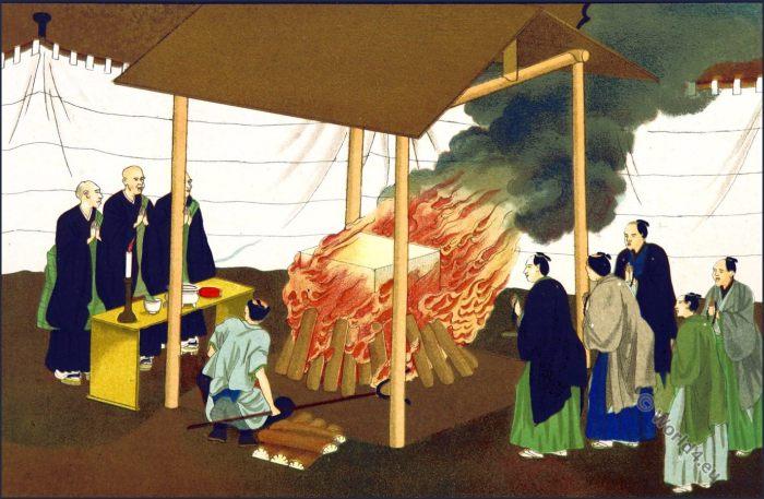 Cremation. Seppuku, Japan Samurai
