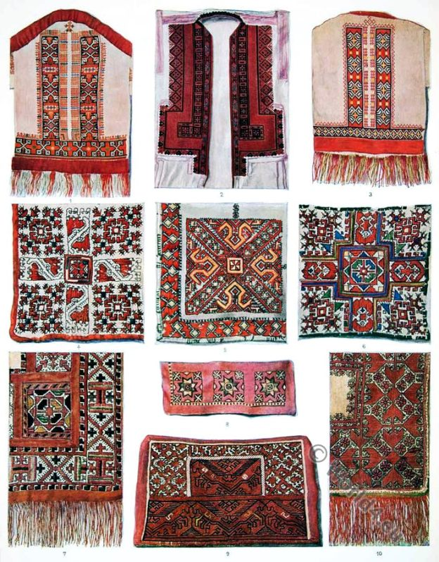 Russian embroidery, patterns, 19th century