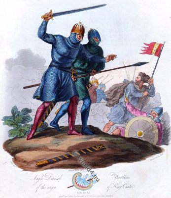 Anglo Danish warriors, Knights, King Canute the Great, England 10th century fashion,
