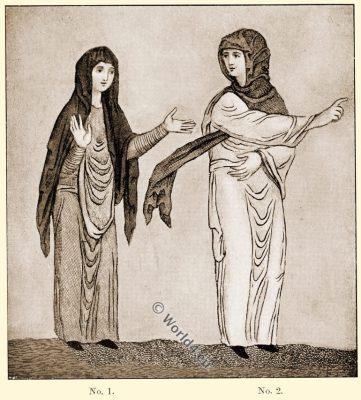 Saxon head-rail. Anglo-Saxon, costume, history, England medieval fashion