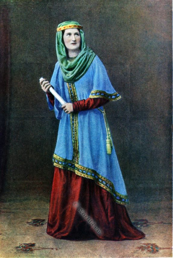 Anglo-Saxon, costume, England medieval fashion, dress