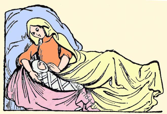 Saxon mother, child, Anglo-Saxon manuscript, costume, history, England medieval fashion