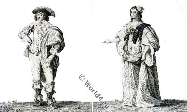 17th century fashion. Baroque costumes, London, England