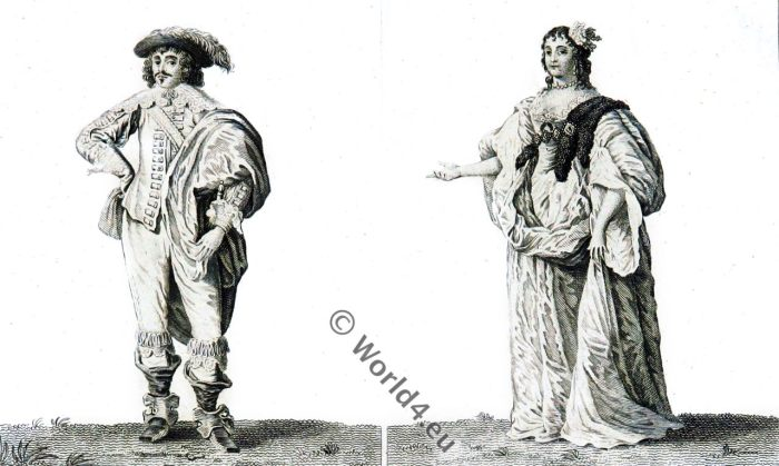 17th, century, fashion, Baroque, costumes, London, England, Stuart,