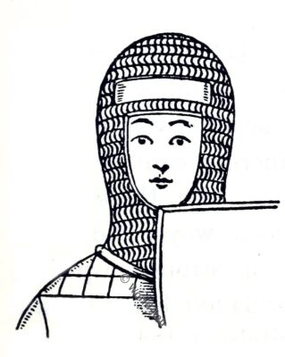 Knight, coif-de-mailles, England 12th century fashion, Medieval manuscript.