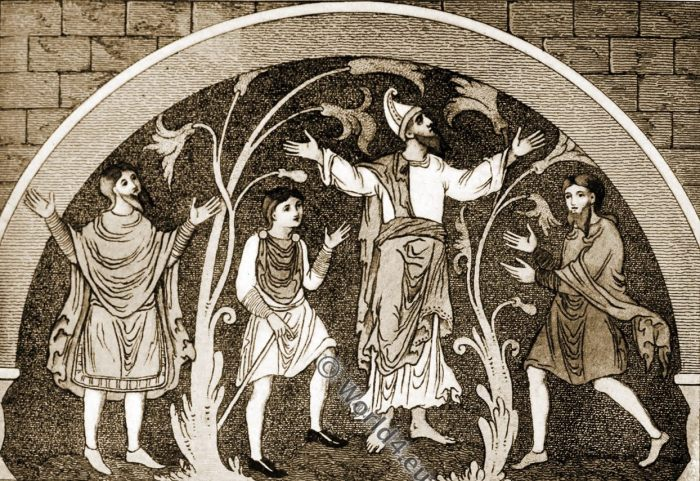 Saxon mantles, Anglo-Saxon, costume, history, England medieval fashion
