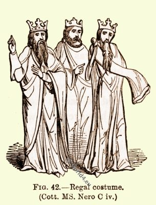 Regal costume, England Normans, 10th century fashion