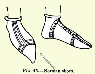 Norman, shoes, England, medieval fashion, 11th century costumes