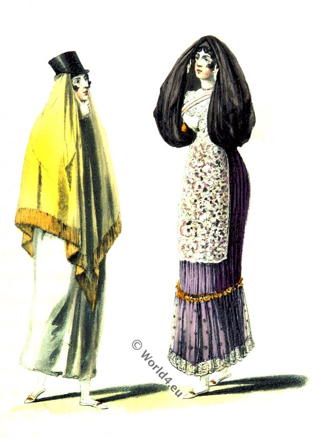 Peru, Lima, Historic costumes, 19th century fashion, latin, america