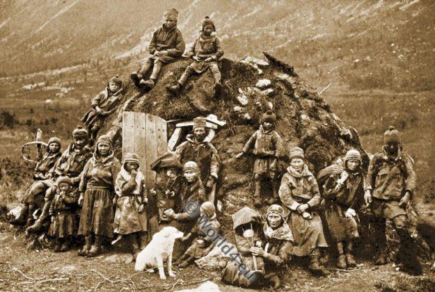 Lapp encampment, Sami, Norway traditional dress, family, costumes