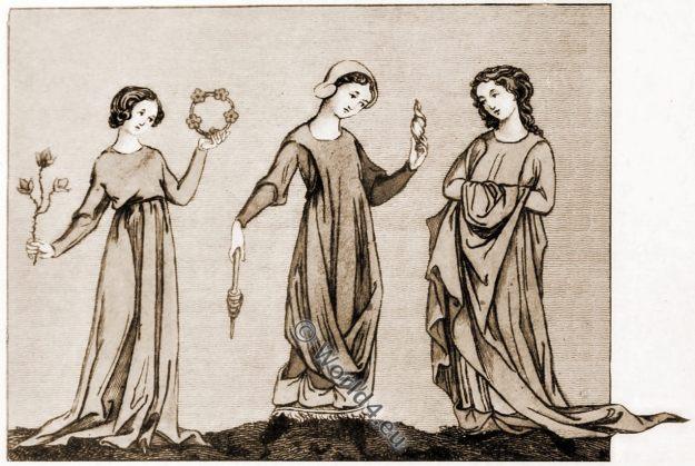 Medieval British costumes, England 13th century fashion