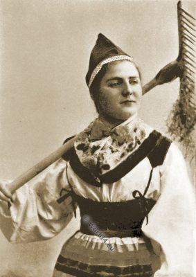 Mower maid, Maud Müller, Norway traditional costume, farm girl