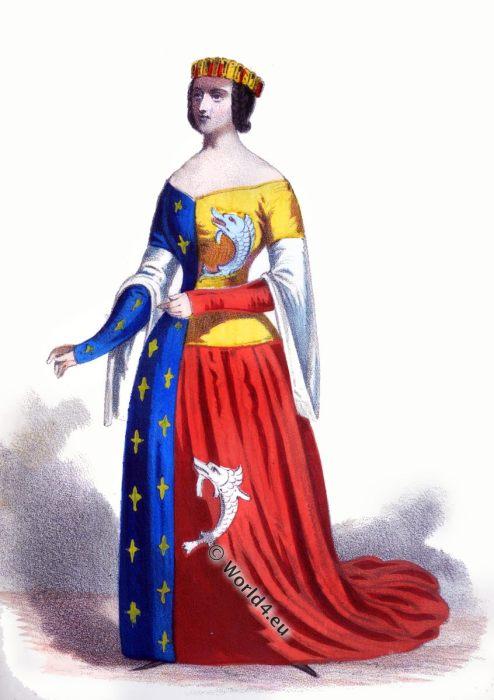 Anne Dauphine of Auvergne, Heraldic clothing, Medieval,Duchess,Arts, Culture,Fourteenth, Fleur De Lys, 14th century, costume