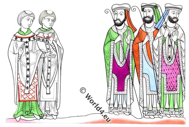 Ecclesiastics, clergy, Bishop, monks, norman,middle ages, 12th century, dress,pastoral, staff, Henry Shaw, fashion