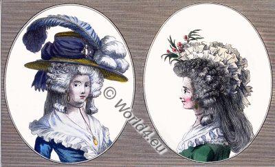 French, Coiffure, 18th century, Cabinet des Modes, rococo fashion history