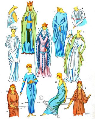 costumes, Gallic women, celt, Merovingian fashion history, Paul-Louis de Giafferri