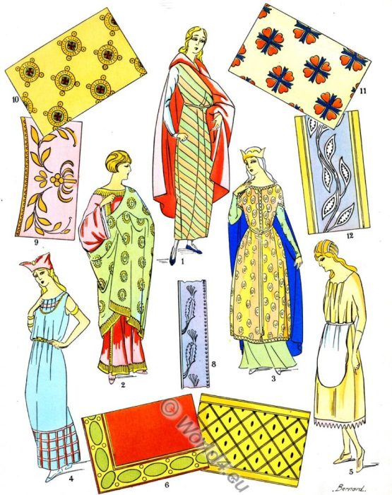 gaul, ancient, Gallic fabrics, merovingian,embroideries, fashion, history, Paul-Louis de Giafferri
