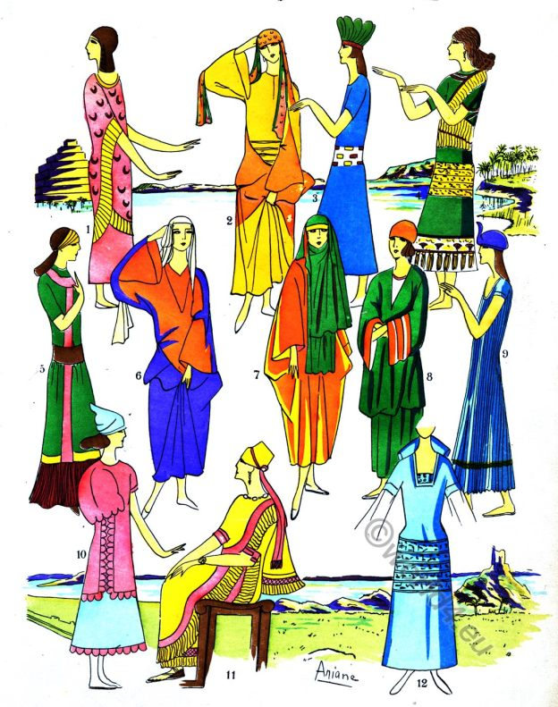 Assyria, Ancient, costume, history, gowns, Mesopotamia, Babylonia