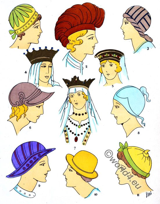 Headdresses, Gallic, Headdress, gaul, merovingian, fashion history