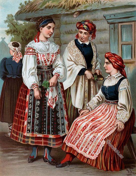 Lithuania, Folk, costumes, 19th century, Albert Kretschmer