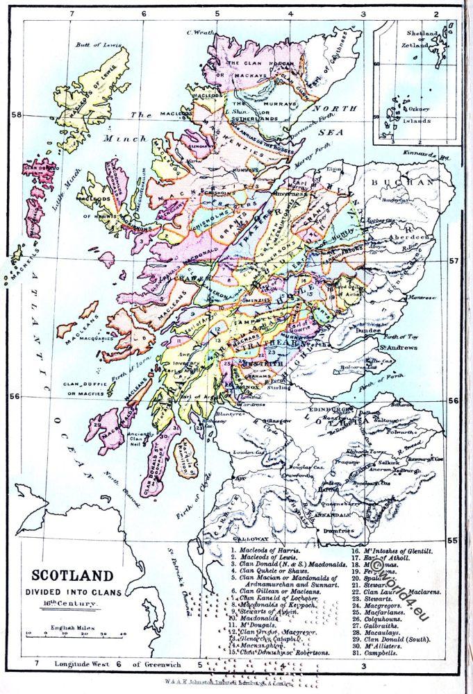 Scotland, Clans, Map, 16th century