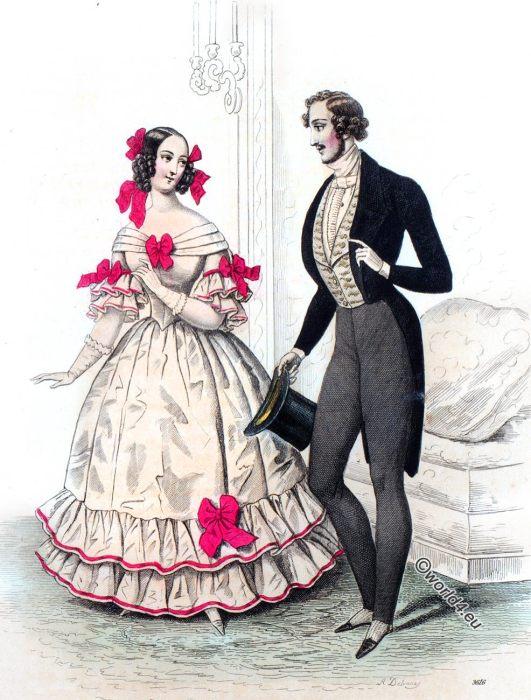Costumes, Parisiens, Journal, Dames, Modes, Romantic, fashion