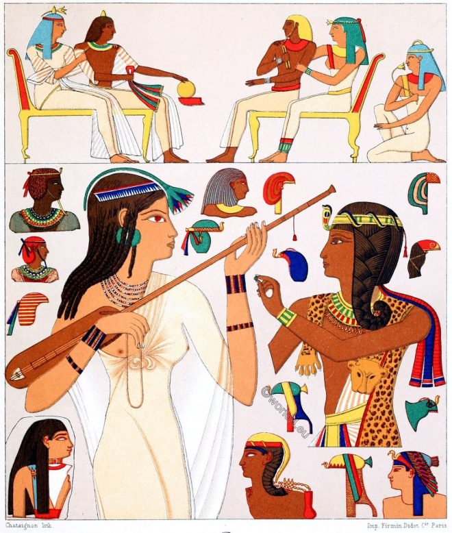 Egyptians, ancient, dresses, headgear, Wigs, Hairstyles, Make-up, garments