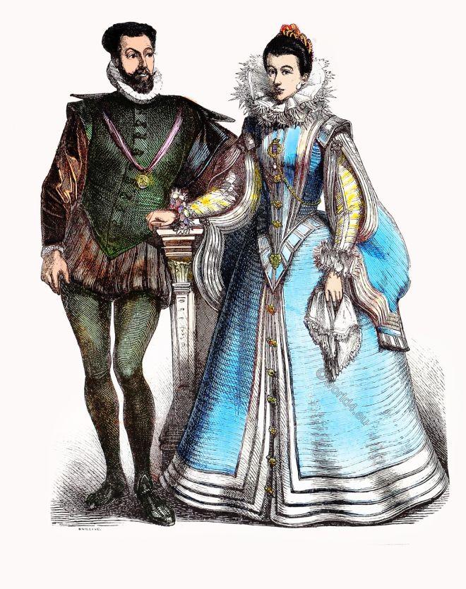 Renaissance, court, Spanish, clothing, fashion, costumes, baroque,