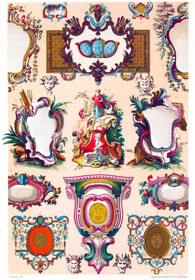 Auguste Racinet, Cartouche, Camaieu, decoration, Ornaments, Rococo, 18th century