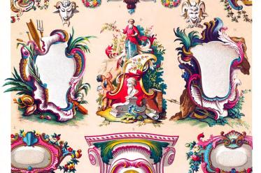Auguste Racinet, Cartouche, Camaieu, decoration, Ornaments, Rococo, 18th century