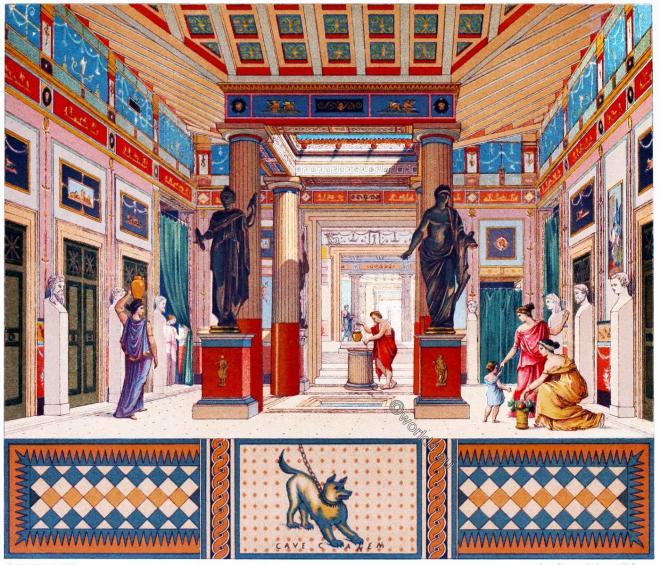 Roman, architecture, Pompeian, House, Auguste Racinet