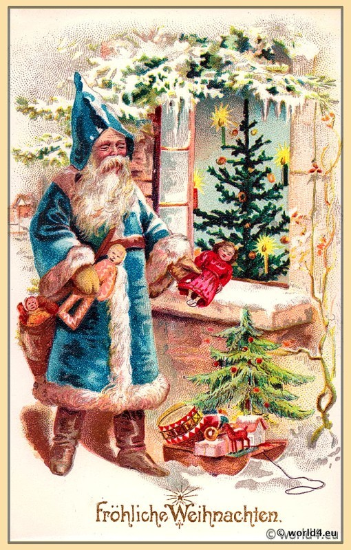 Santa Claus With Christmas Tree German Xmas Card Lost