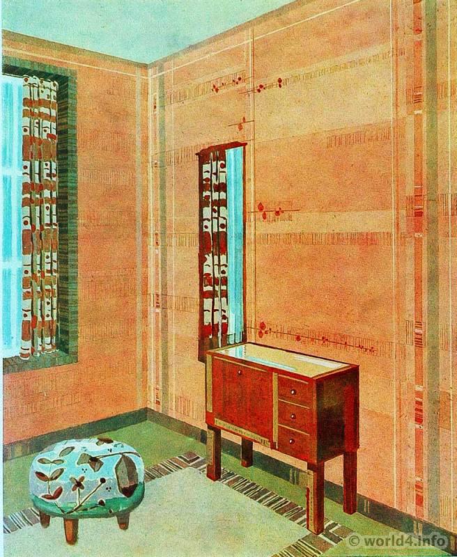 Art deco interior design color and furniture 1930s for Art deco interior paint colors